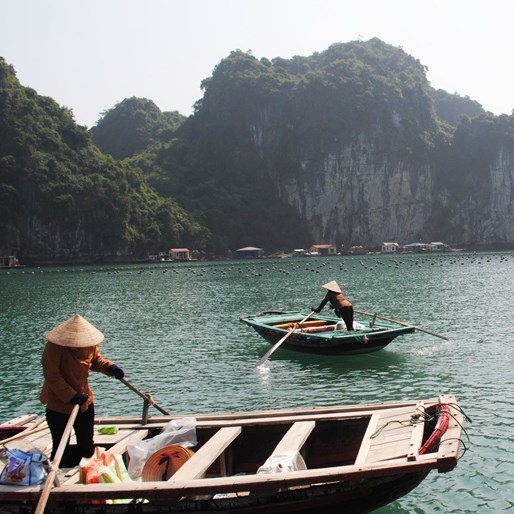 Small boats In Halong Bay Vietnam
