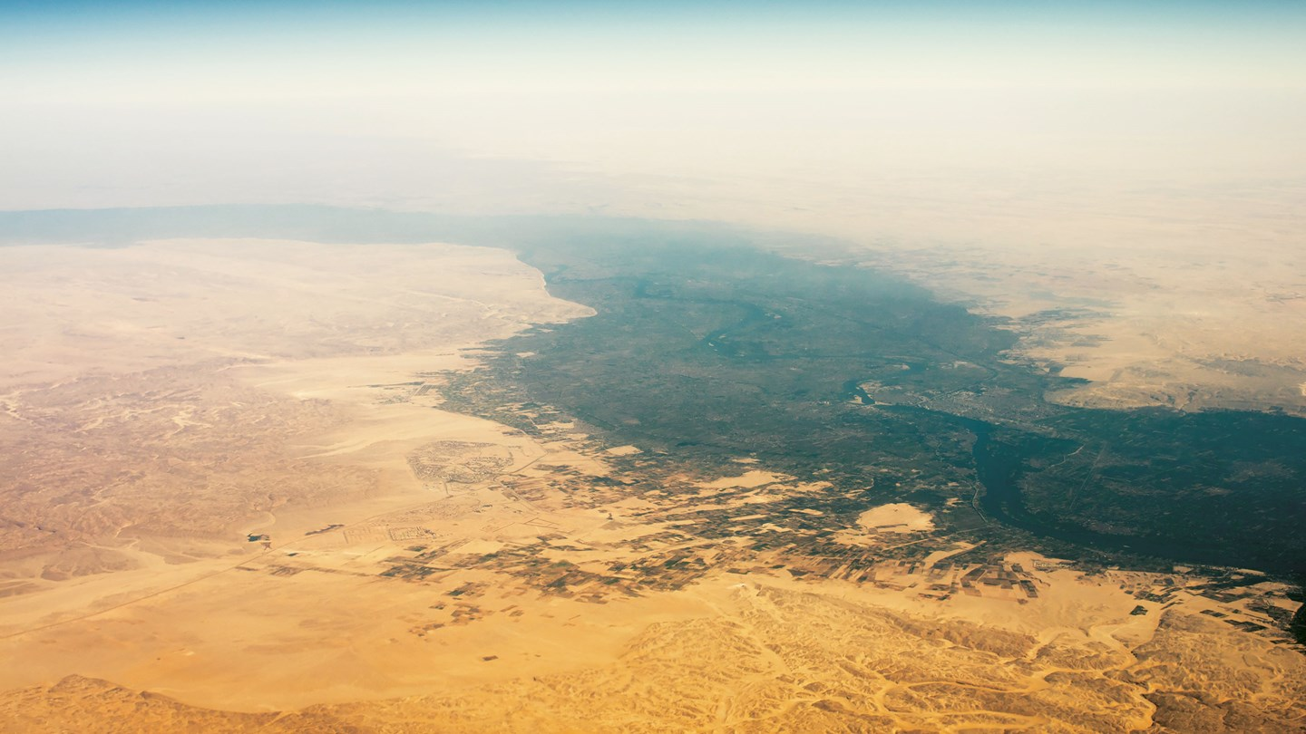 erial view of Egypt desert and Nile river